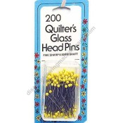 """Yellow Glass Head """"QUILT"""" Pins"""